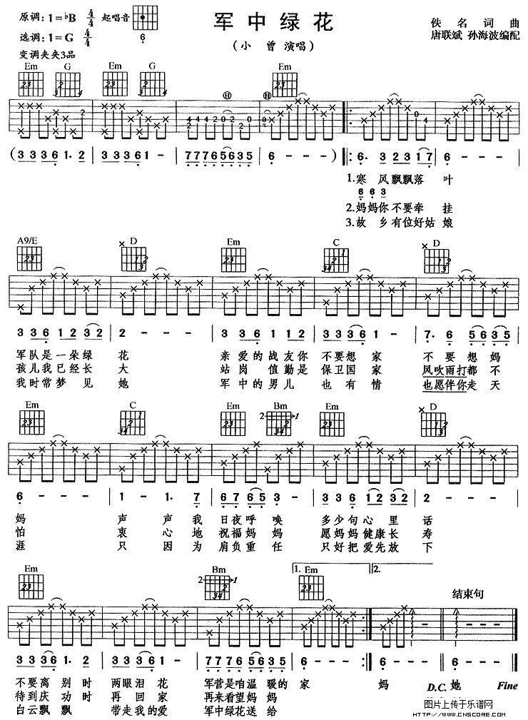 军中绿花(吉他弹唱)吉他谱图片格式六线谱-明明简谱网